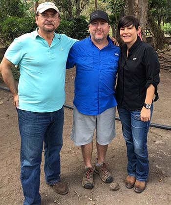 Dr and Eleane Meirisch with Jack Kelly at Fincas Mierisch in Nicaragua shopping for Caffe Ladro coffee.
