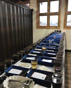 coffee cupping table on 2017 Guatemala Coffee buying trip