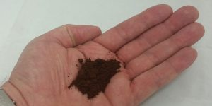 Choose your grind - hand with ground coffee in it