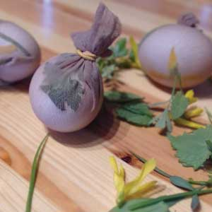 eggs with flowers, leaves and grass prepared to become coffee dyed eggs