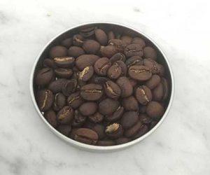 Coffee Roasting sample of medium roast coffee sample in tin from caffe ladro ladro roasting