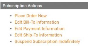 Subscription Actions