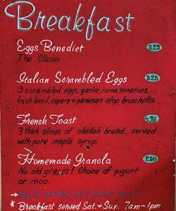 Caffe Ladro weekend breakfast menu from 1995