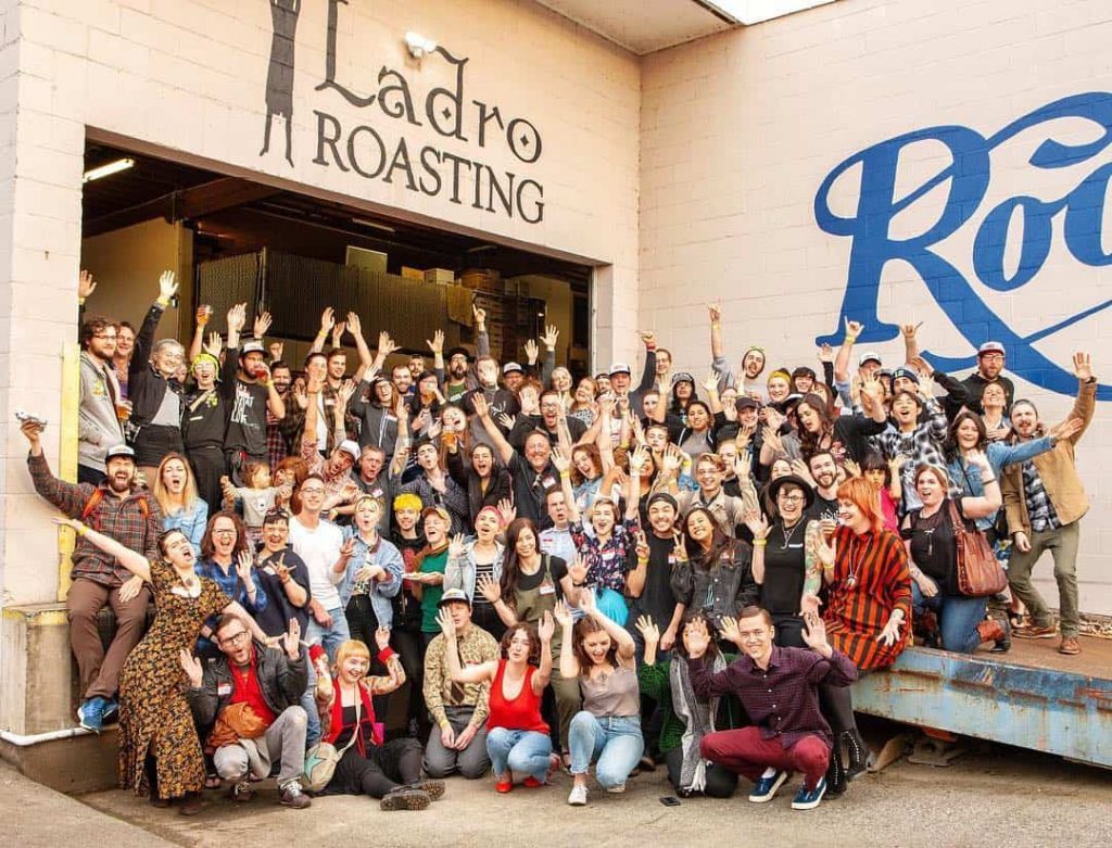 Ladro Team celebrating 25th Anniversary of Caffe Ladro at company party