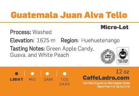 Ladro's Good Food Awards coffee entry Guatemala Juan Alva Tello